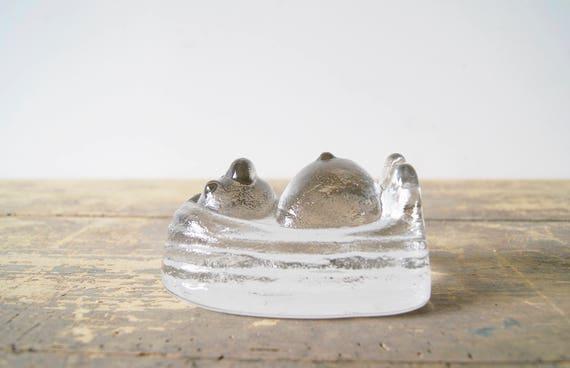 Glass figure troll, paperweight glass, glass art Sweden, home accessories glass 70s