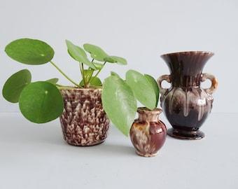 Ceramic Set Brown Art Deco, Jasba Vase and FlowerPot, Brown Mid Century Planters
