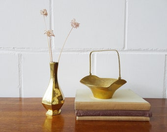 Vintage brass vase and bowl with handle