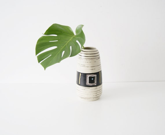 Ceramic vase 50s, flower vase, mid century modern, flower container, large vase, black and white