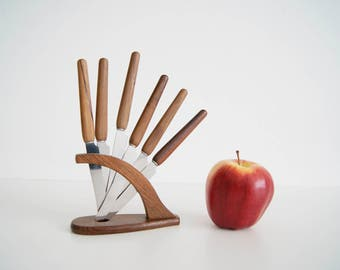 five fruit knives in stand with wooden handle, mid century knife set