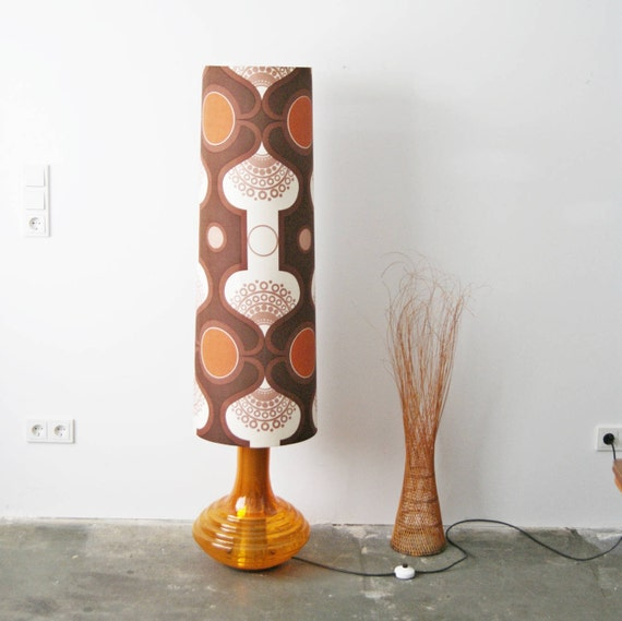 large floor lamp by Doria Leuchten with an illuminated base in glass in orange and a large retro lampshade