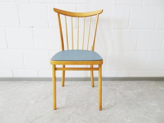 mid century kitchen chair with blue seat cover