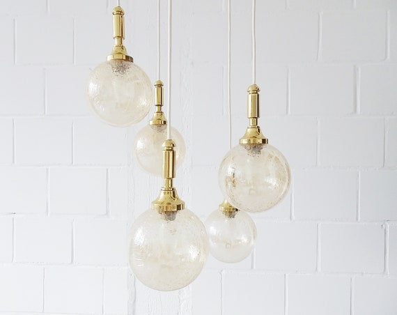 Wila Cascade chandelier four-armed, large pendant lamp with glass beads amber and gold
