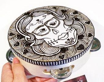 Sugar skull, Dia De Los Muertos, Hippie gifts, Gypsy, Day of the Dead, Gypsy tambourine, Girl Skull, Calaveras, Skull tambourine, Tribal