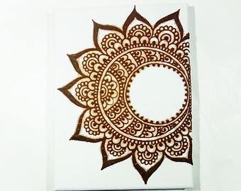 Henna on canvas, Crescent moon, Yoga gifts, Moon canvas, Canvas, Henna art, Indian wedding, Tribal india, Mandala canvas, Mehndi moon