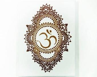 Ohm sign, Henna Canvas, Ohm, Yoga lovers, Mandala, Mehndi style, Aum, Mehndi decor, Rustic decor, Wall art henna, Spiritual style, Moroccan