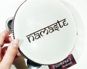 Tambourine, Namaste wall art, Yoga love, Bohemian hippie, Yoga lovers gift, Namaste sign, Folk instruments, Yoga lovers art, Namaste