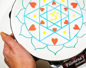 Love mandala, Henna tambourine, Colorful mandala, Folk instruments, Yoga room decor, Mandala, Tribal india, Bohemian hippie, Boho decor