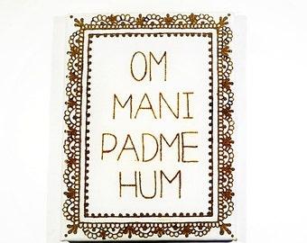 Om mani padme hum, Henna on canvas, Yoga decor, Wall art henna, Spiritual style, Buddhist decor, Henna Canvas, Om mani mantra, Yoga painting
