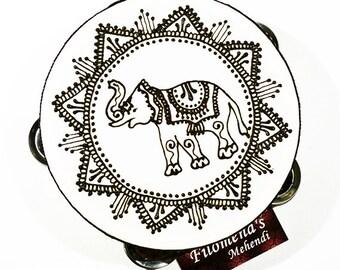 Indian elephant, Drum circle, Belly dance, Indian elephants, Henna tambourine, Elephant gift, Ornate elephant, Ganesha, Boho elephant
