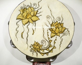 Lotus flower, Henna drum, Henna tambourine, Gypsy drum, Boho home decor, Belly dance, Natural art, Organic Henna, Henna art, Wood instrument