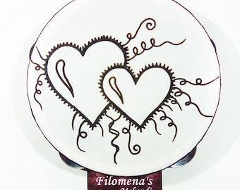 Love gift, Hearts, Henna tambourine, Indian wedding, Mandala, Tribal india, Bohemian hippie, Boho decor, Gypsy decor, Folk instruments