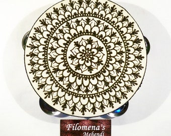 Henna mandala, Gift for women, Asian art, Gift for girls, Functional art, Stocking stuffer, Indian gift, Henna drum, Party nights