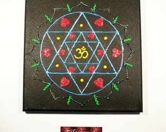 Love mandala, Canvas painting, Original painting, Wall art, Painting, Canvas art, Colorful Mandala, Wall decor - Love Mandala on Canvas