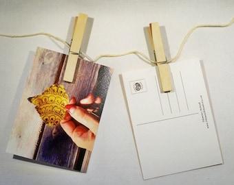 Postcard, Save the date, Printable, Postcards, Postcard set - Henna Inspired Postcard Hand Painted Leaf