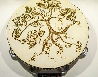 Henna tambourine, Gypsy drum, Henna mandala, Henna tattoo, Henna drum, Tree of life art, Chocolate brown, Mehndi, Instrument, Tree of life