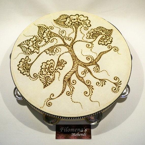Henna Tambourine Gypsy Drum Henna Mandala Henna Tattoo Etsy