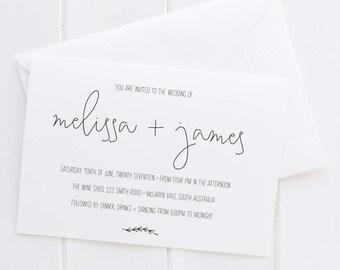 OLIVE BRANCH Black & White Invitation, Digital Invitation, Digital Engagement Invite, Wedding Invitation, Engagement Invitation