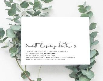 STELLA Printable Invitation, Digital Invitation, Digital Engagement Invite, Wedding Invitation, Engagement Invitation