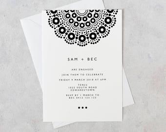 MANDALA Black & White Invitation, Digital Invitation, Digital Engagement Invite, Wedding Invitation, Engagement Invitation