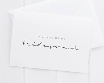 BRIDESMAID Greeting Card, Will You Be My Bridesmaid, Bridesmaid Card, Bridesmaid Greeting Card, Bridesmaid Gift, Wedding Party gift