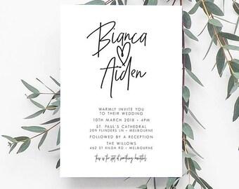 INDI Black & White Invitation, Digital Invitation, Digital Engagement Invite, Wedding Invitation, Engagement Invitation