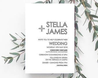 HITCHED Black & White Invitation, Digital Invitation, Digital Engagement Invite, Wedding Invitation, Engagement Invitation
