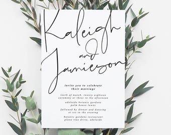 HARPER Printable Invitation, Digital Invitation, Digital Engagement Invite, Wedding Invitation, Engagement Invitation