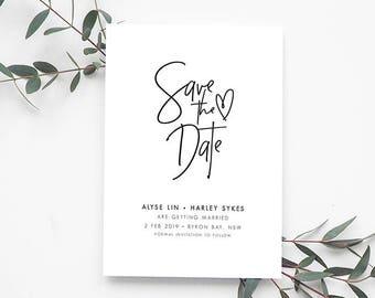 INDI Printable Save the Date Card, Digital Invitation, Engagement Invite, Wedding Invitation, Save the Date Card