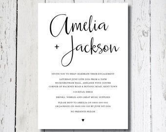 LOVE STORY Black and White Invitation, Digital Invitation, Printable Invitation, Digital Engagement Invite, Wedding Invitation