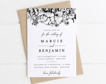 POSY Black & White Invitation, Digital Invitation, Digital Engagement Invite, Wedding Invitation, Engagement Invitation