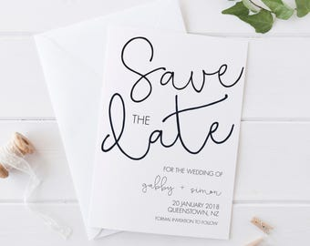 YOUNG LOVE Black & White Invitation, Digital Save the Date, Digital Invitation, Engagement Invite, Wedding Invitation, Save the Date Card