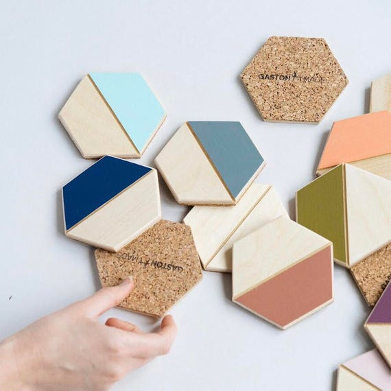 Color Pop Hexagon Coasters– Set of Four
