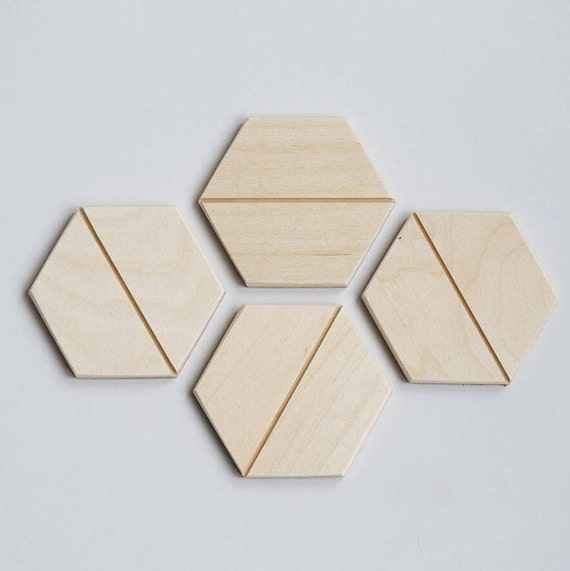 Natural Hexagon Coasters– Set of Four