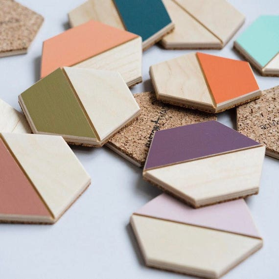Color Pop Hexagon Coasters– Set of Four