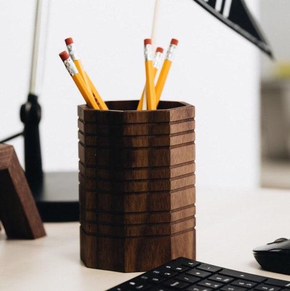 Wood Octagonal Pencil Cup
