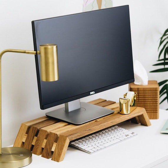 Slatted Wood Monitor Stand