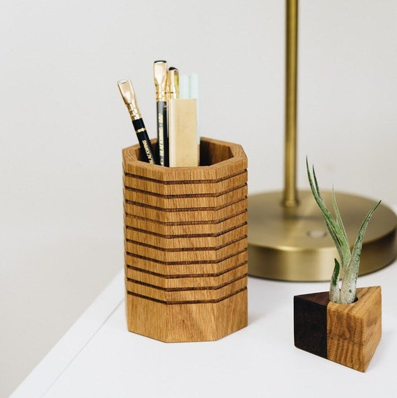 Wood Octagonal Pencil Cup