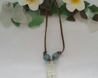 Hawaiian White Sea Glass Love Necklace