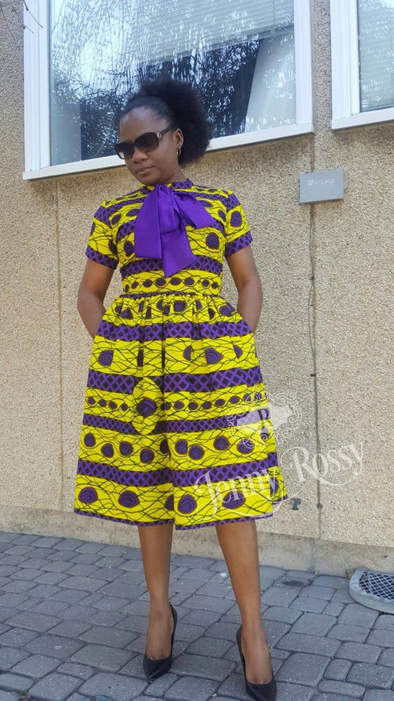 385cde860989 Made to order  African print Midi fashionable Dress Classic