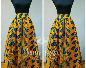 READY TO SHIP-African print Maxi skirt,high waist skirt,Ankara blue bulb Maxi skirt African Maxi women clothing