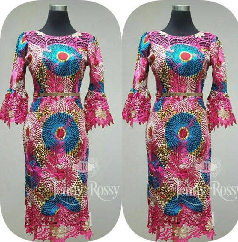 216b842c194 Pink African lace dress quater sleeves dress African print