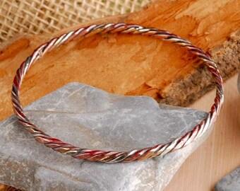 three twisted strands bangle bracelet