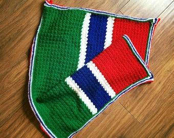 Gambian flag baby blanket