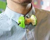 Apple Core Bow tie Bowtie Suit Men Gentleman Design Designer Rommydebommy Fun Apple Green Bite Fruit Cute Unique Food Jewelry Accessories