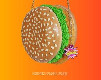 Kip hamburger hamburger portemonnee foodpurse voedsel tas kunst ontwerp ontwerper rommydebommy chick Hamburger salade cheeseburger leuke accessoires honger