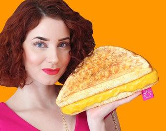 Gegrilde kaas grilledcheese portemonnee tas accessoires gele honger eten portemonnee brood foodgasm kunst design ontwerper rommydebommy leuk schattig yumm