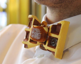 Wafel Tie Design accessoires sieraden Rommydebommy mannen pak Bowtie herenkleding Mensstyle heren jongen mannen wafel ontbijt honing boter, lunch
