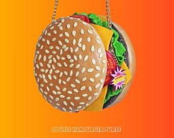 Dubbele hamburger portemonnee Hamburger mcdonalds kaas tomaten vlees eten portemonnee tas kunst ontwerp ontwerper rommydebommy leuk schattig fastfood junkfood